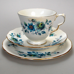 Queen Anne Blue Rose Tea Cup Saucer Amp Plate Bone China