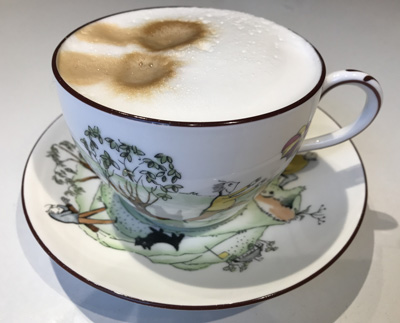 Crown Staffordshire large teacup and saucer comic golfing pattern 16228