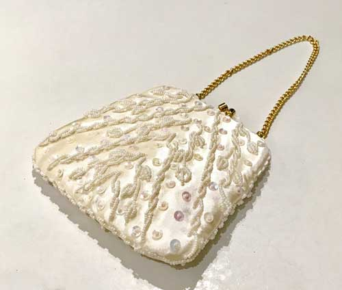 Vintage ivory colour sequin and bead small evening bag ideal for bridal purse, wedding or prom
