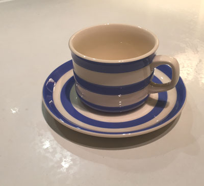 T G Green Cornish  Ware Blue & White Cup and Saucer
