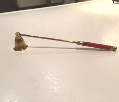 Vintage Brass Bell Shaped Candle Snuffer With Red Handle
