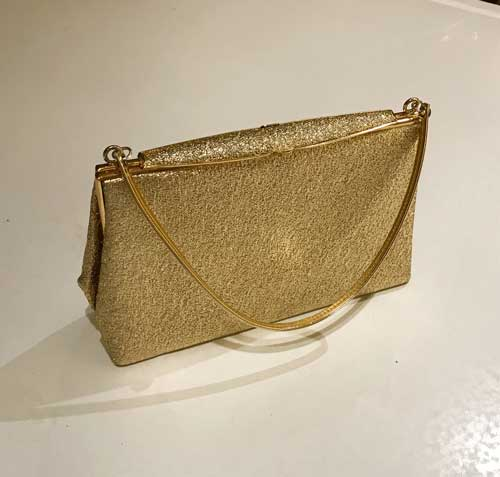 Vintage gold lame evening bag ideal prom, wedding, party and evening bag