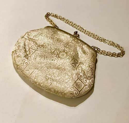 Vintage ivory and gold colour evening bag ideal for bridal purse, wedding or prom